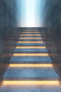modern minimalism style stairs with night lighting